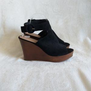Torrid Platform Wedge Suede Sandals Black 11W
